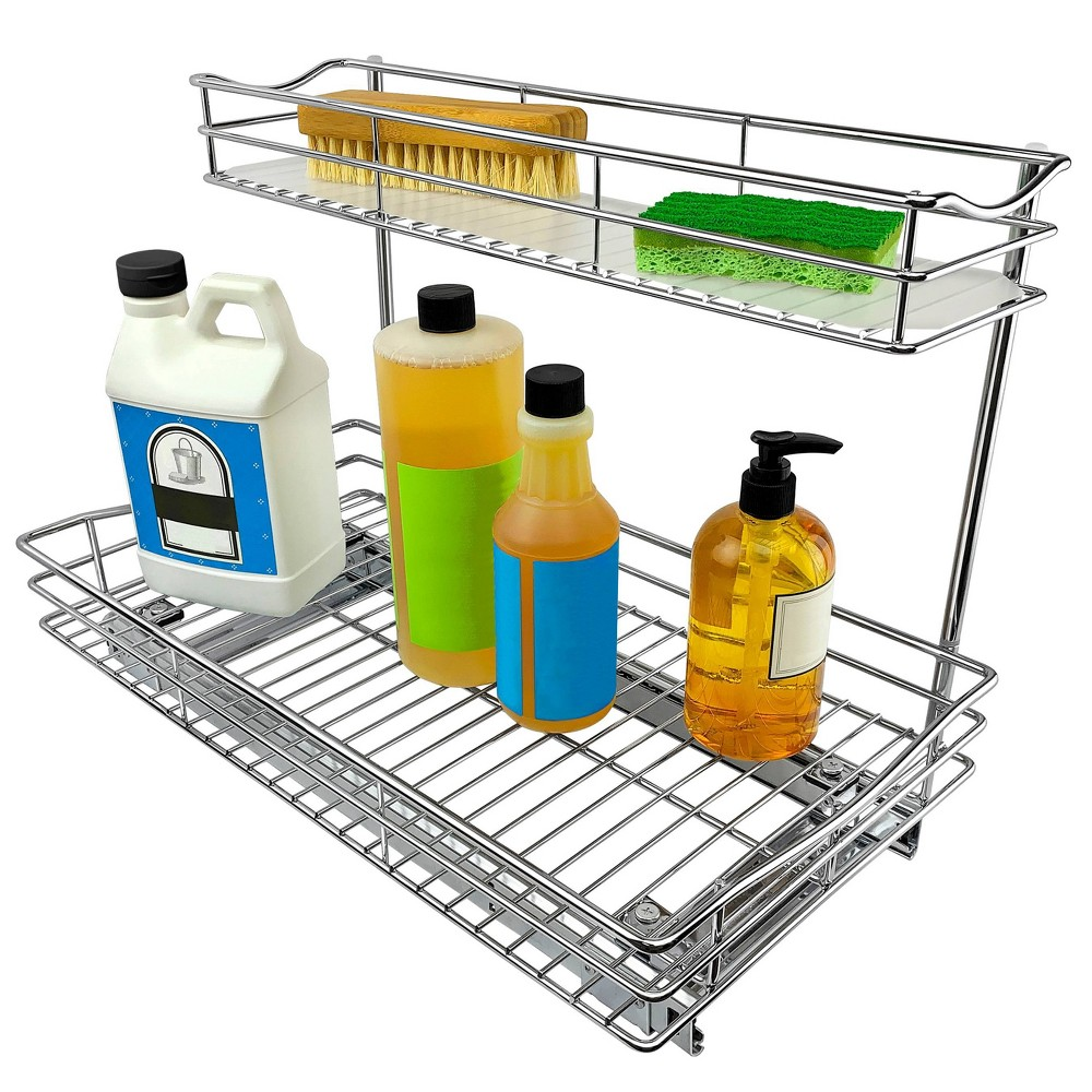 """Image of """"Link Professional 11.5"""""""" x 18"""""""" Slide Out Under Sink Cabinet Organizer - Pull Out Two Tier Sliding Shelf, Silver"""""""