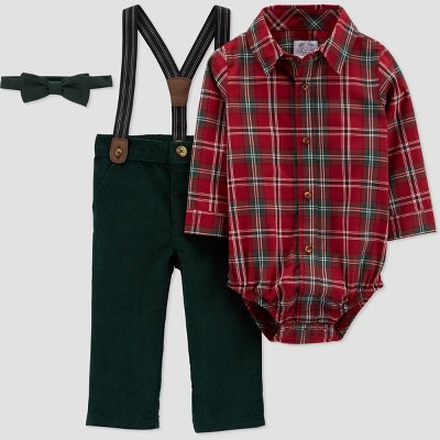 Baby Boys' Plaid Top & Bottom Set with Bowtie - Just One You® made by carter's Red/Green 12M