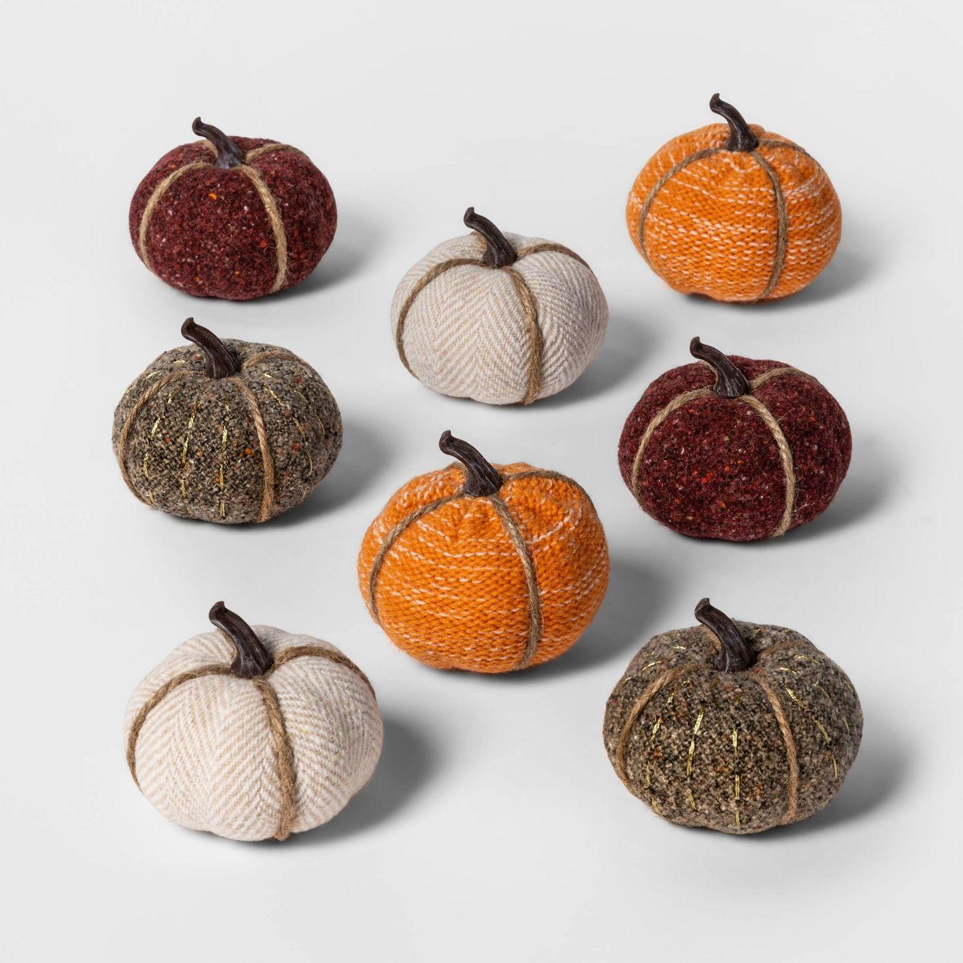 8ct Mini Fabric Pumpkins Halloween Decoration Solid - Spritz™ - image 1 of 2