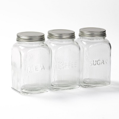 Lakeside Tea Coffee Sugar Glass Storage Canisters with Metal Lids - Set of 3