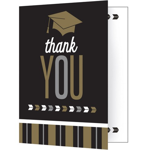Graduation Thank You Notes | 8ct Silver And Gold Glitz Graduation Thank You Notes Target