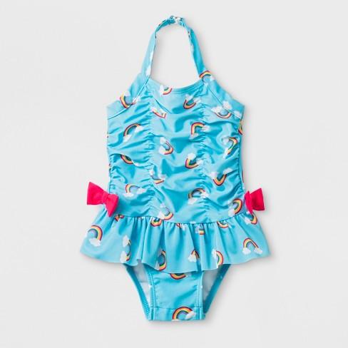 464770364e Baby Girls  Rainbow Print One Piece Swimsuit - Cat   Jack™ Blue   Target