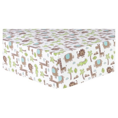 Trend Lab Deluxe Flannel Fitted Crib Sheet - Sage Safari Animals