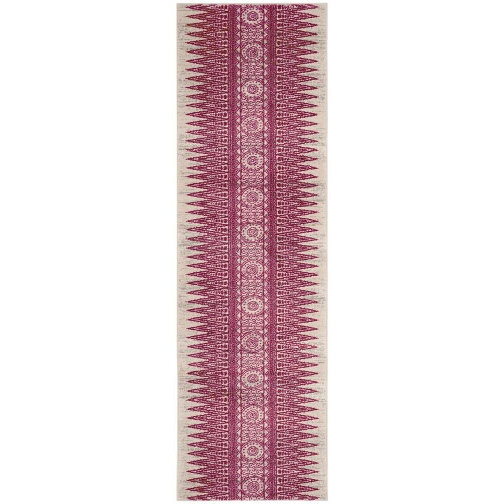 6'7X9' Tribal Design Loomed Area Rug Ivory/Fuchsia (Ivory/Pink) - Safavieh
