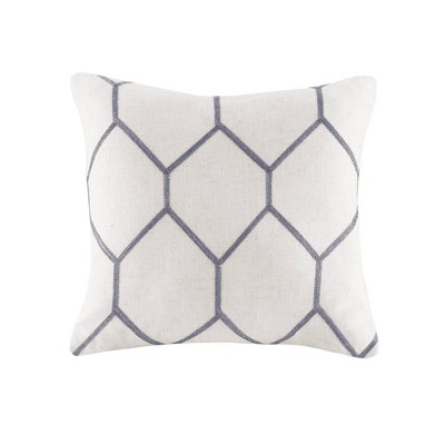 """2pk 20""""x20"""" Oversize Geometric Embroidered Square Throw Pillow Gray"""