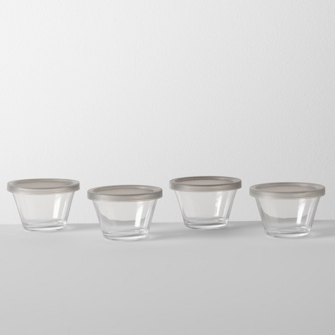 5.9oz 4pk Custard Cup with Lid Glass - Made By Design™ - image 1 of 3