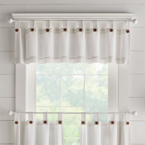 Tucker Solid Button Tab Top Window Kitchen Valance 60 X 15 White Elrene Home Fashions Target