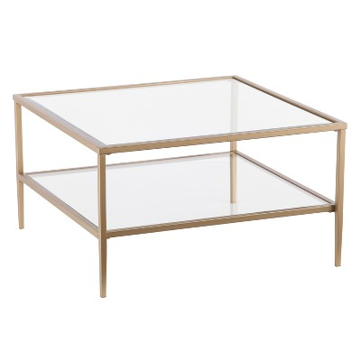 Emerson Square Open Shelf Cocktail Table Gold   Aiden Lane : Target