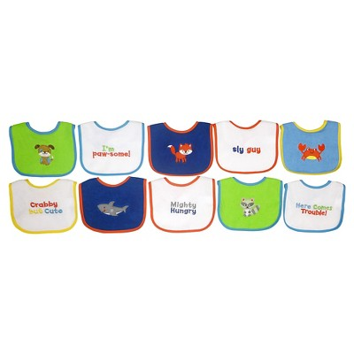 Neat Solutions Knit/Terry Embroidered Boy Sayings Bibs-10PK