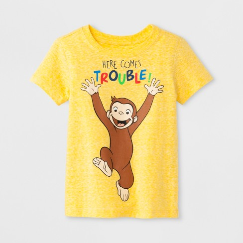 Toddler Boys' Curious George 'Here Comes Trouble' Short Sleeve T-Shirt - Yellow 4T - image 1 of 1