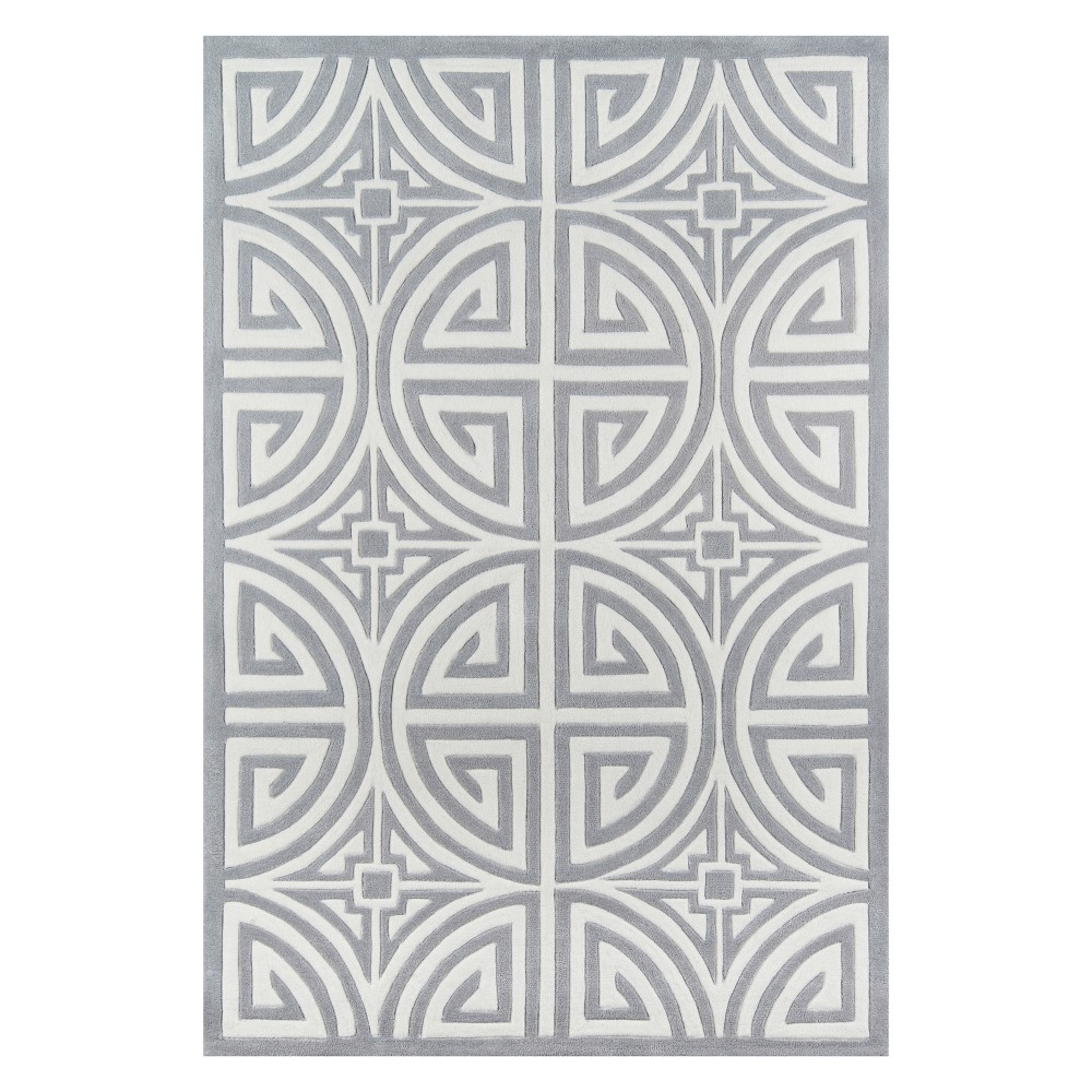 5'X7'6 Geometric Tufted Area Rug Gray - Momeni