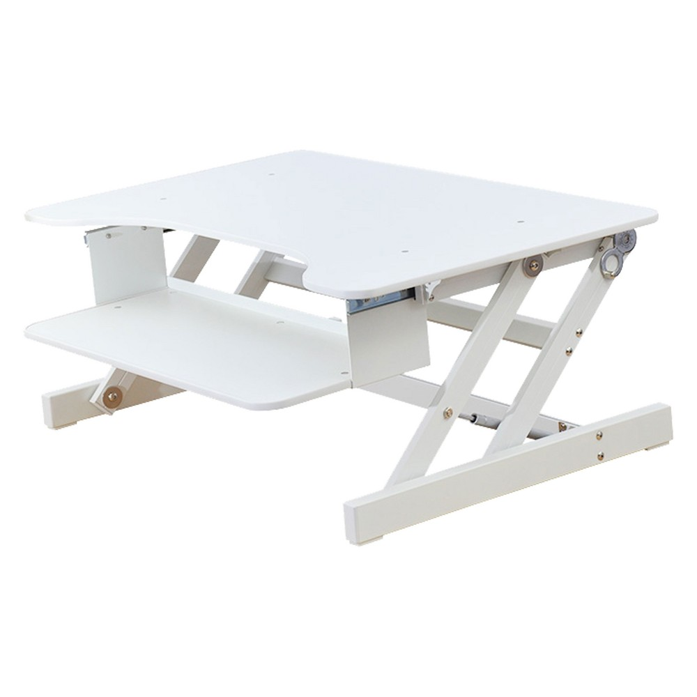 Basic Height Adjustable Sit to Stand Desk Computer Riser, White