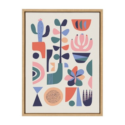 """18"""" x 24"""" Sylvie Mid Century Succulent Framed Canvas Wall Art by Rachel Lee Natural - Kate and Laurel"""