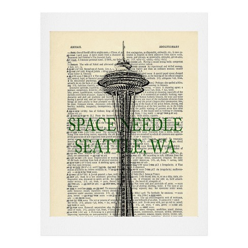 """Darkislandcity Space Needle On Dictionary Paper Art Print 8"""" x 10"""" - Deny Designs - image 1 of 1"""