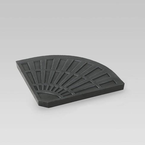 30lb Isla Fan-Shaped Resin Umbrella Base Brushed Black - Christopher Knight Home - image 1 of 4
