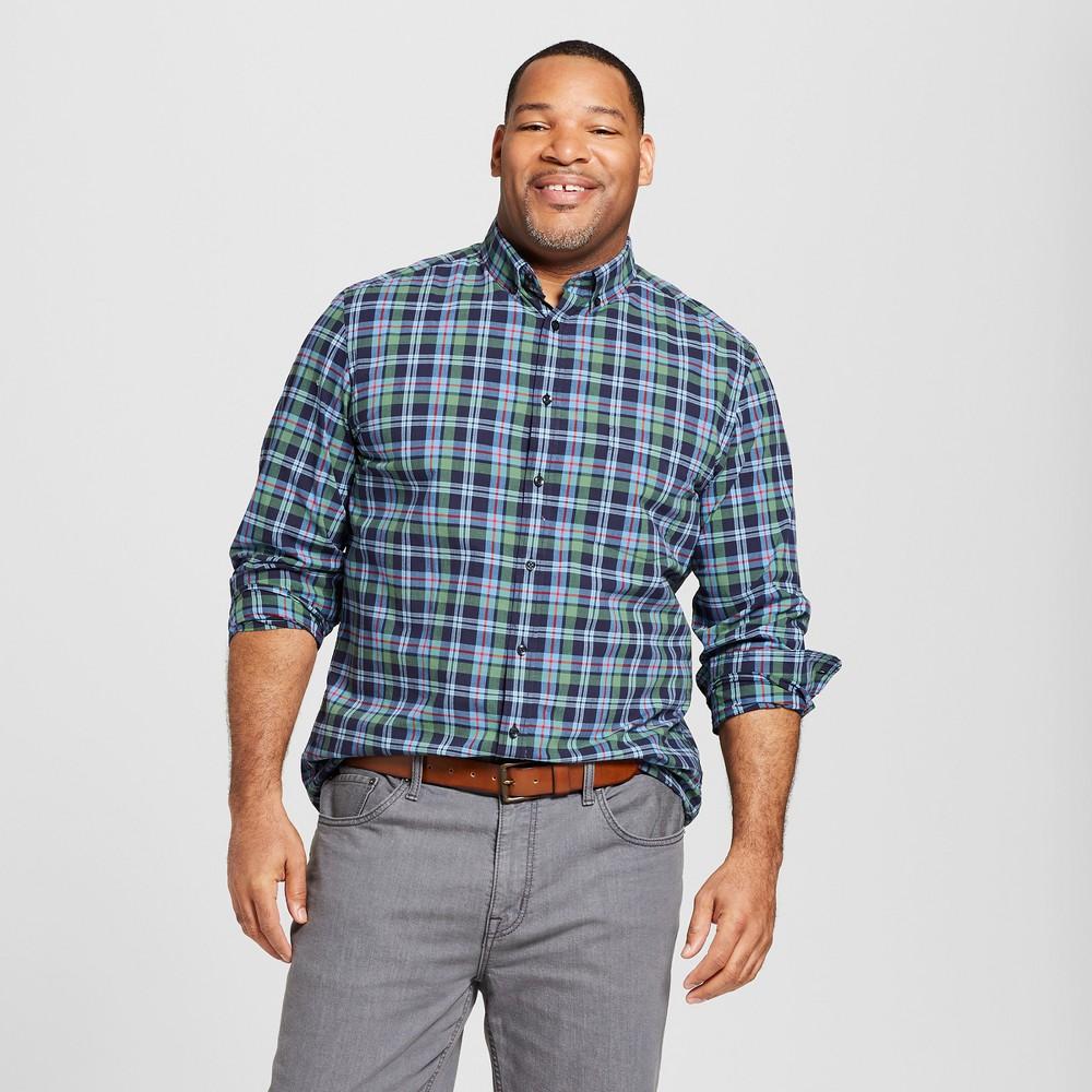 Men's Big & Tall Standard Fit Long Sleeve Soft Wash Northrop Button-Down Shirt - Goodfellow & Co Cyber Blue 5XB