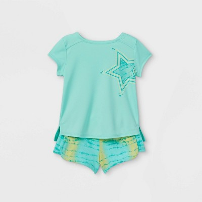 Toddler Girls' Star Active Short Sleeve Top & Shorts Set - Cat & Jack™ Green