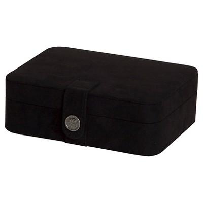 Mele & Co. Giana Women's Plush Fabric Jewelry Box with Lift Out Tray-Black