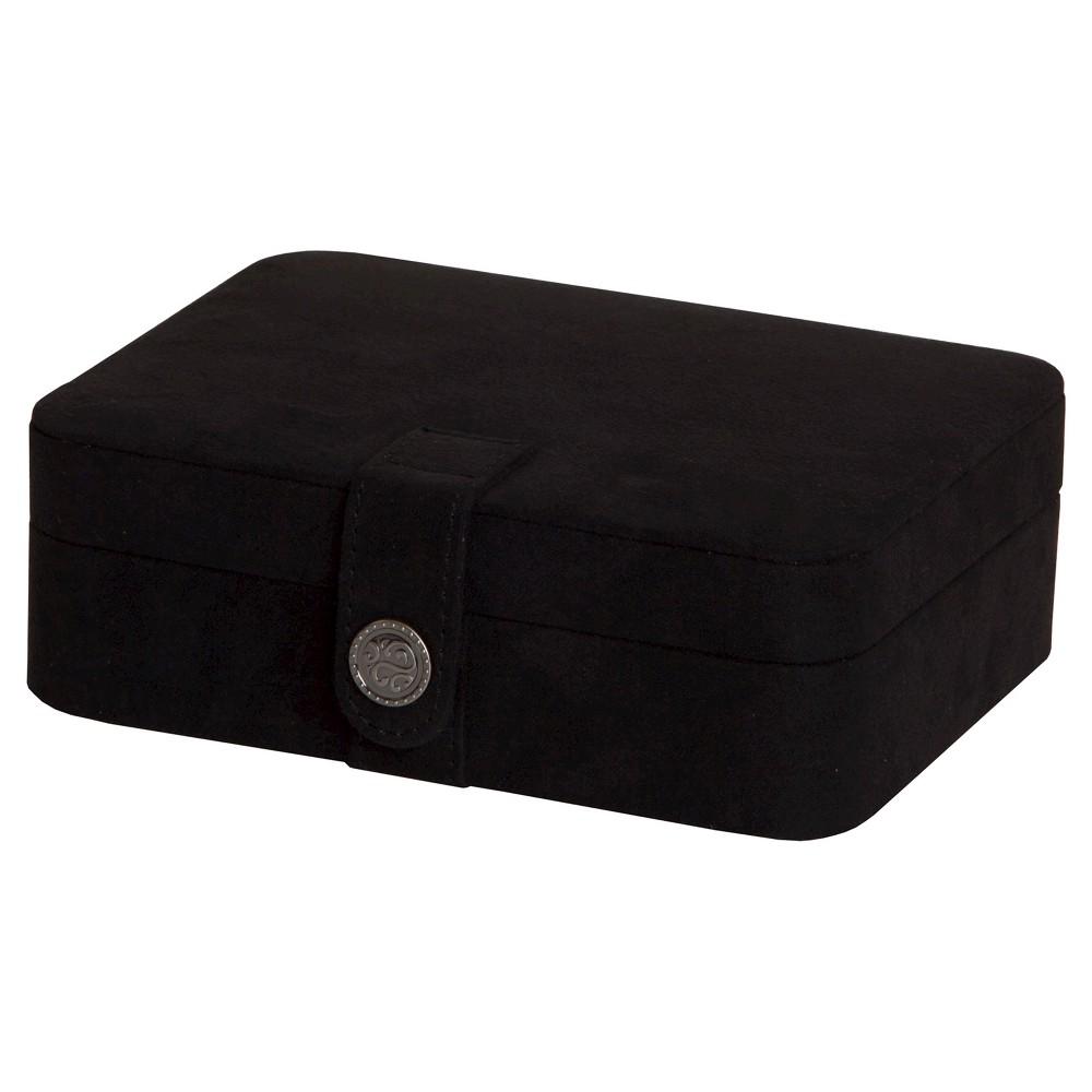 Image of Mele & Co. Giana Women's Plush Fabric Jewelry Box with Lift Out Tray-Black, Size: Small