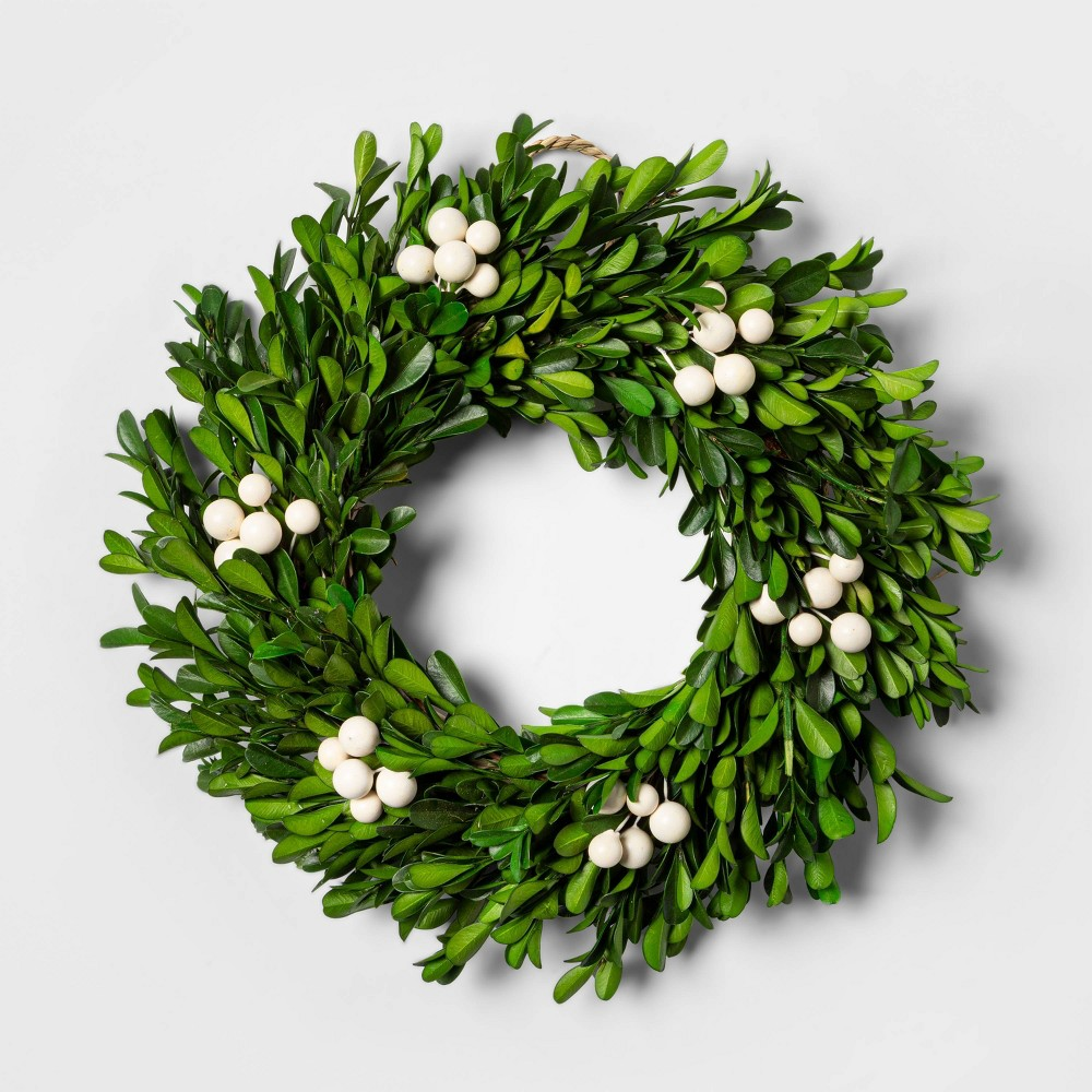 "Image of ""10 and 1/2"""" Preserved Boxwood Wreath - sugar paper , Green"""