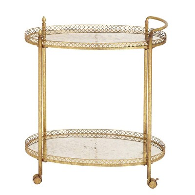 Oval Mirror Rolling Bar Cart Gold - Olivia & May