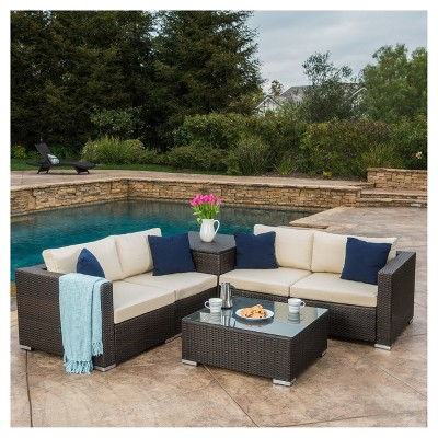 Santa Rosa 6pc All Weather Wicker Patio Sectional Sofa Set   Brown    Christopher Knight Home : Target