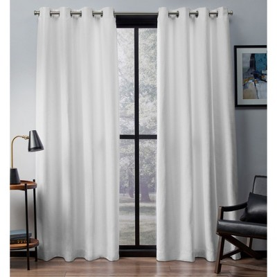 Set of 2 Eglinton Woven Blackout Grommet Top Window Curtain Panel White (52 x84 )- Exclusive Home™
