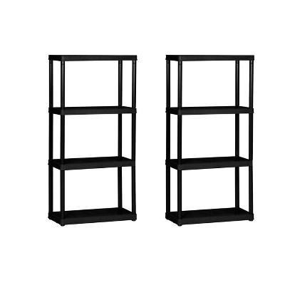 Gracious Living 4 Shelf Tier Light Duty Indoor and Garage Shelf, Black (2 Pack)