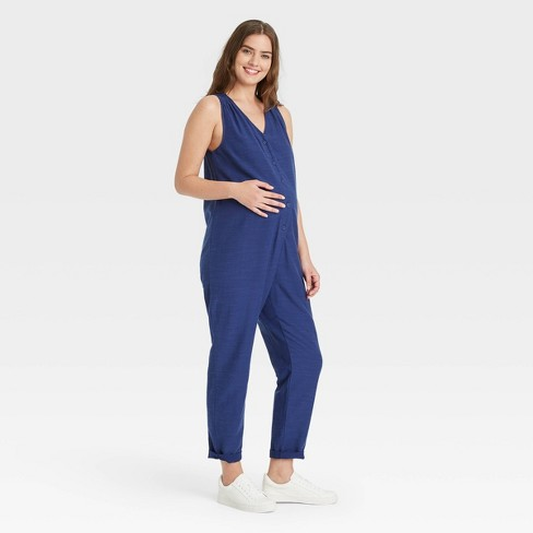 The Nines by HATCH™ Sleeveless Twill Button-Front Maternity Jumpsuit Blue - image 1 of 3