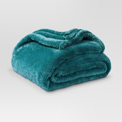 Fuzzy Throw Blanket Teal - Threshold™ - image 1 of 1