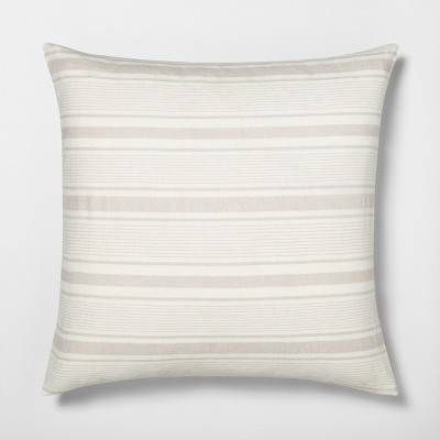 Euro Pillow Sham Linen Blend Yarn Dye Sour Cream / Pebble - Hearth & Hand™ with Magnolia