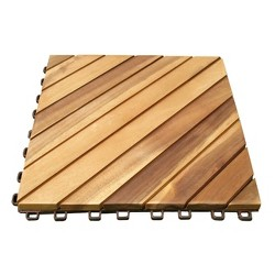 10pk Diagonal Slat Teak Finish Acacia Interlocking Deck Tile - Light Gold - Vifah
