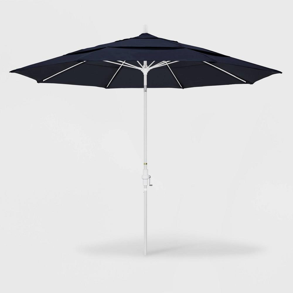 Image of 11' Sun Master Patio Umbrella Collar Tilt Crank Lift - Sunbrella Navy - California Umbrella, Blue