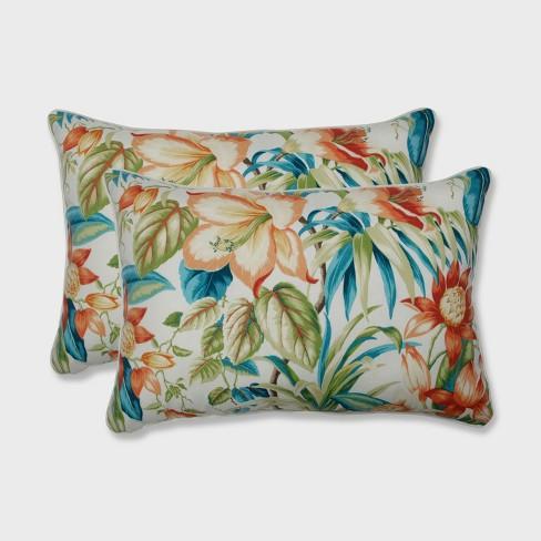 2pk Botanical Glow Tiger Lily Oversized Rectangular Outdoor Throw Pillow - Pillow Perfect - image 1 of 1