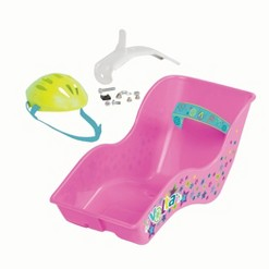 VOLTA Doll Carrier Bike Seat Attachment with Helmet - Pink