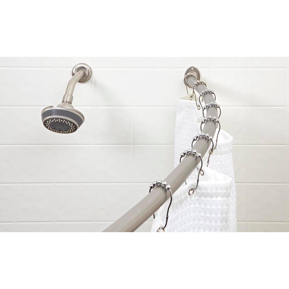 Image of Curved Wall Mountable Shower Rod Light Silver - Bath Bliss
