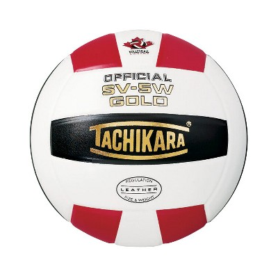 Tachikara SV5W Gold NFHS Premium Leather Volleyball, Scarlet Red/White/Black