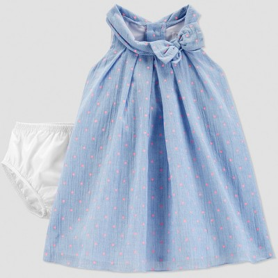 Baby Girls' Dot Dress - Just One You® made by carter's Blue/Pink 6M