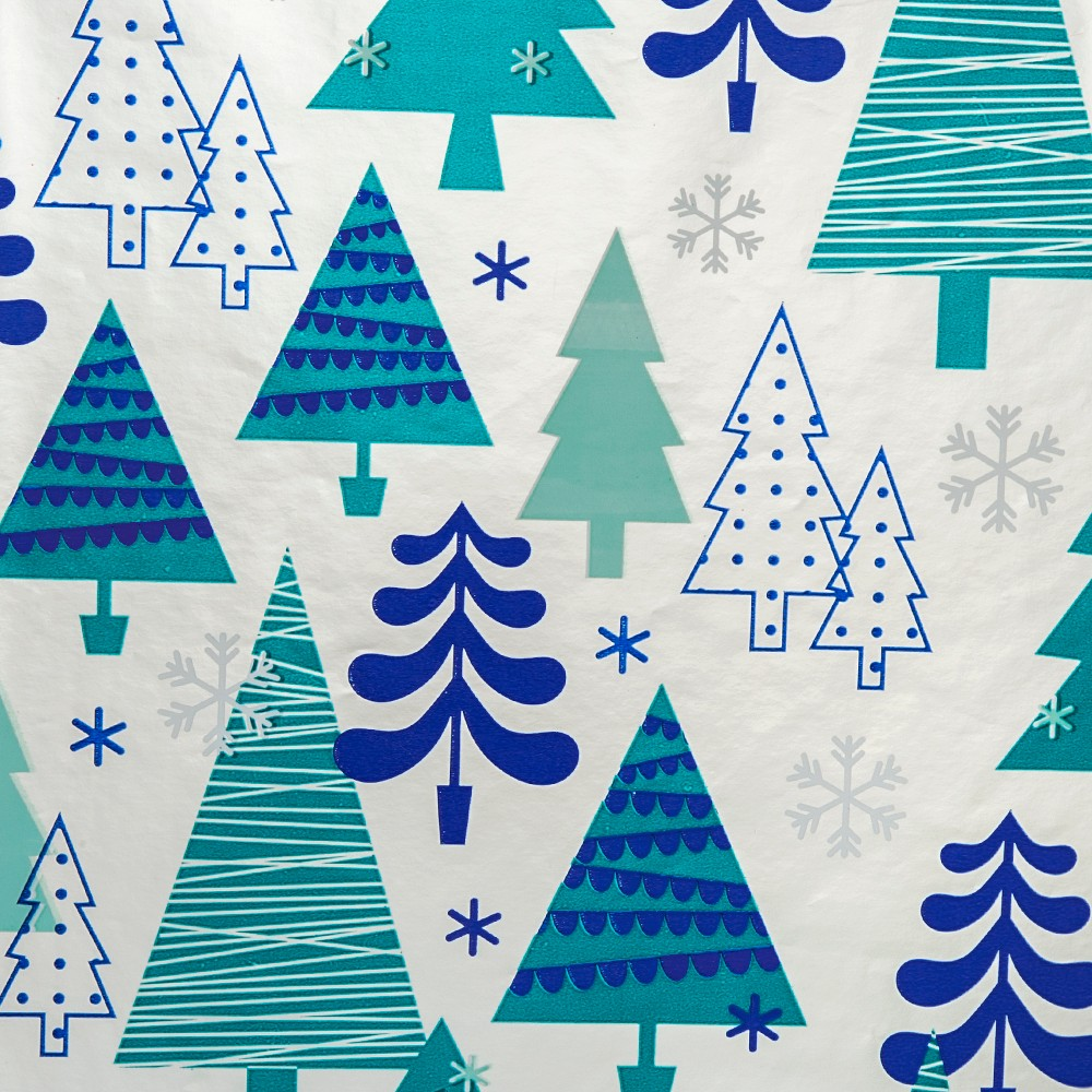 Silver with Blue Trees Premium Gift Wrap 90 sq ft - Wondershop