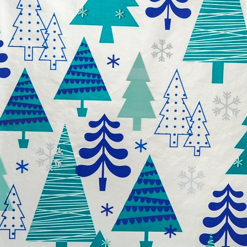 Silver With Blue Trees Premium Gift Wrap 90 Sq Ft