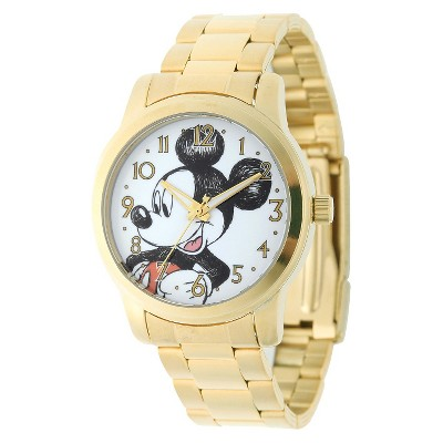 Men's Disney Mickey Mouse Casual Watch with Alloy Case - Gold