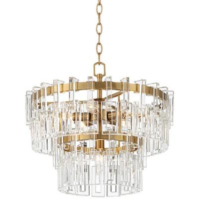 "Vienna Full Spectrum Burnished Brass Crystal Chandelier 18 3/4"" Wide Modern Tiered 6-Light Fixture Dining Room House Foyer Kitchen"