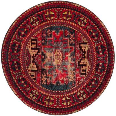 5'3  Tribal Design Loomed Round Area Rug Red - Safavieh