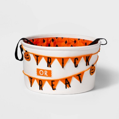 Treat Or Trick Fabric Halloween Candy Basket White   Hyde & Eek! Boutique™ by Shop This Collection