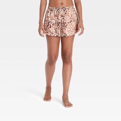 Women's Animal Print Satin Pajama Shorts - Stars Above™ Tan