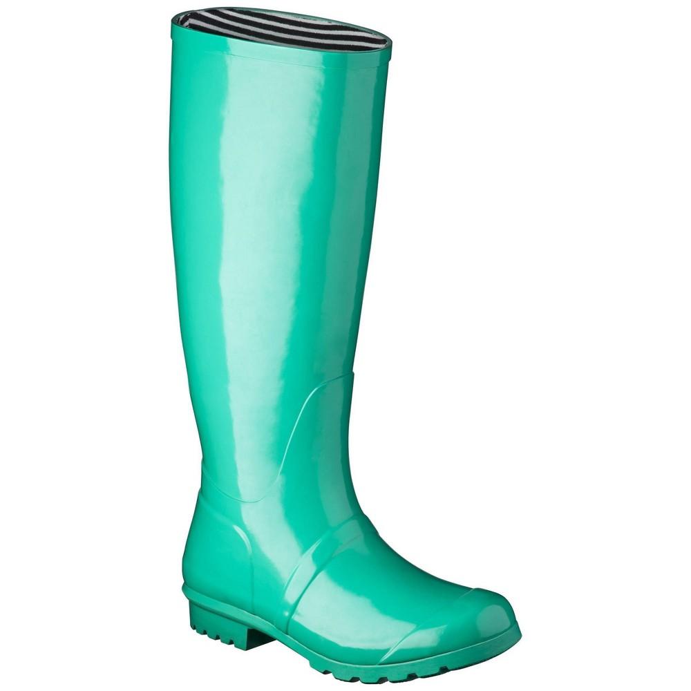 Women S Classic Knee High Rain Boot Cicley Leaf Green 8