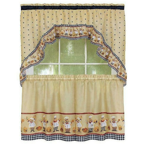 Goodgram Happy Chef Kitchen Curtain Tier And Swag Set By Achim Importing Co Asst Sizes 36 Kitchen Curtain Set Target