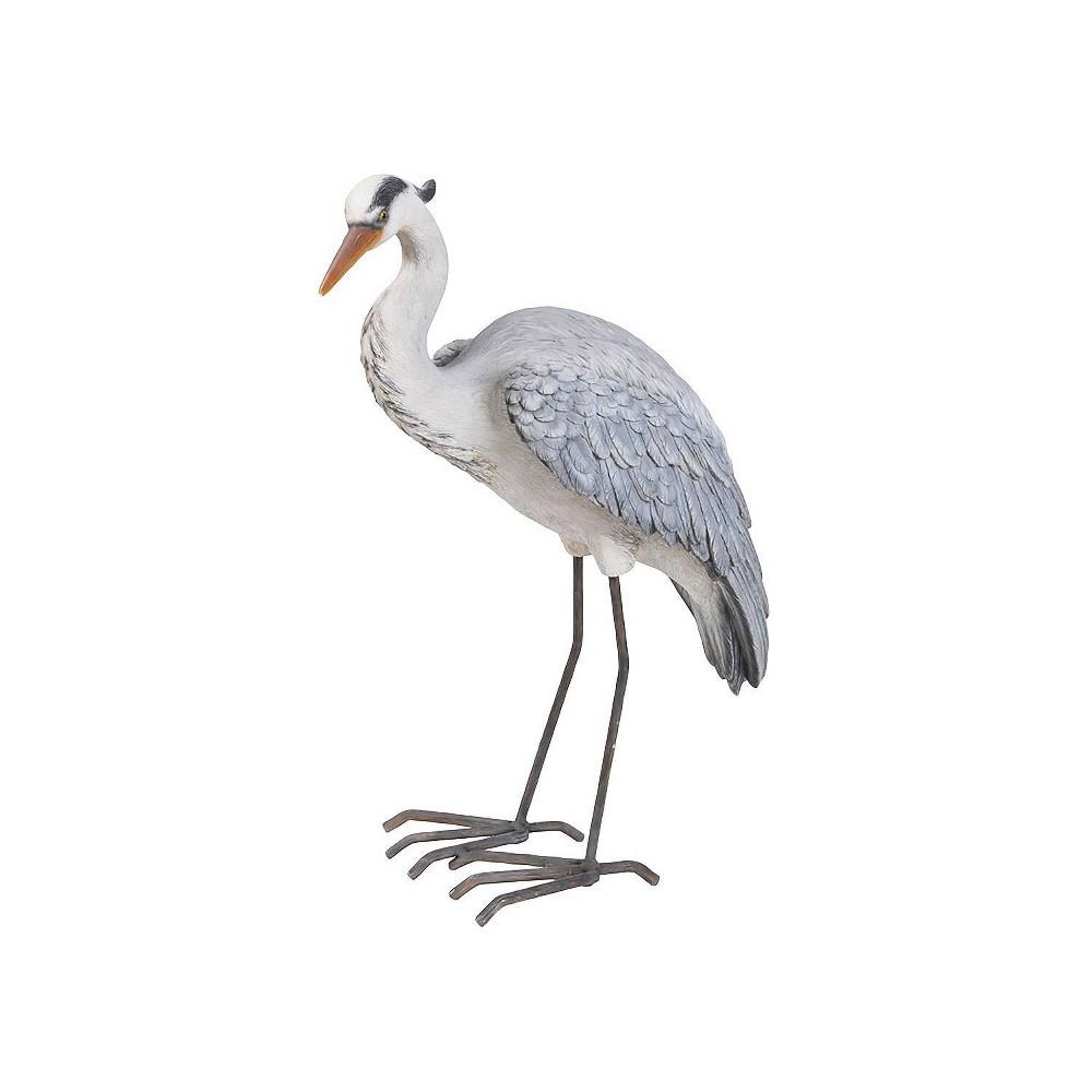 21 34 Polyresin Standing Heron Statue Blue Gray Hi Line Gray