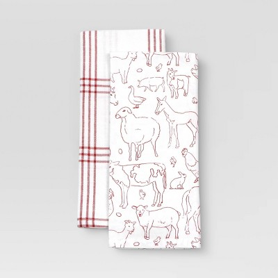 2pk Cotton Printed Kitchen Towels - Threshold™