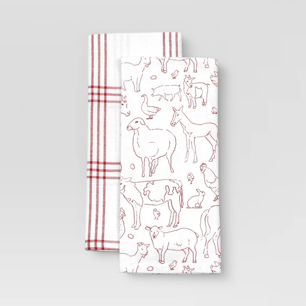 2pk Cotton Printed Kitchen Towels Red Threshold 8482